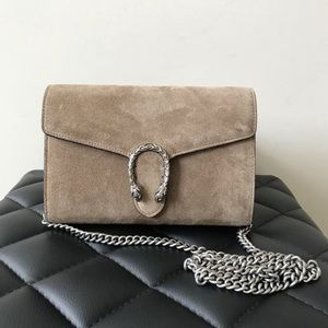 Gucci Dionysus Taupe Suede Wallet on a Chain